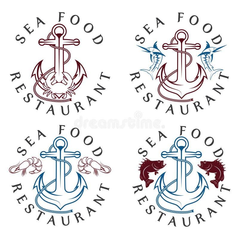 комплект ярлыков еды винтажный иллюстрация штока