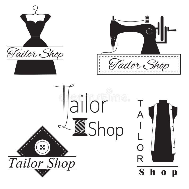 Комплект ярлыков, значков и эмблем портноя иллюстрация вектора