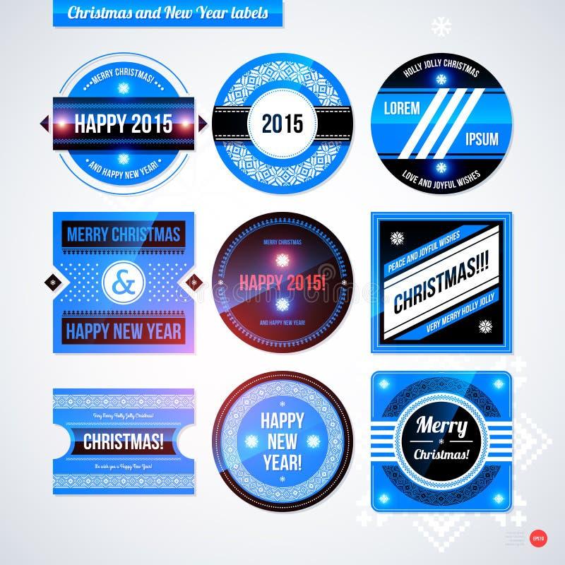 Комплект ярлыков и значков на рождество и Новый Год бесплатная иллюстрация