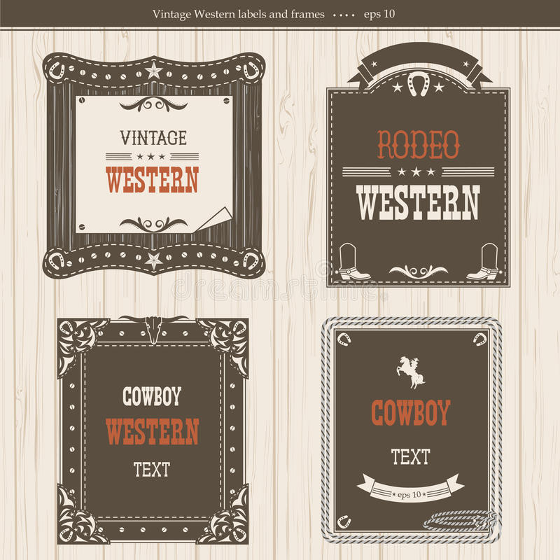 Комплект ярлыков и рамок в западном стиле для дизайна иллюстрация вектора