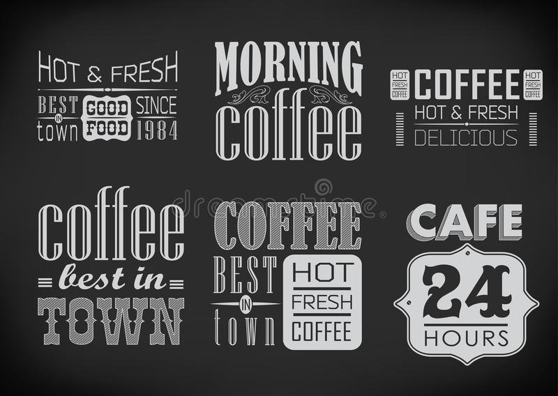 Комплект ярлыков кофе на доске иллюстрация вектора