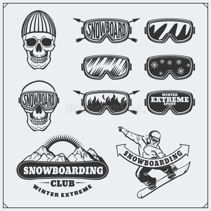 Комплект ярлыков крайности сноубординга, эмблем, значков и элементов дизайна Винтажные символы приключения горы бесплатная иллюстрация