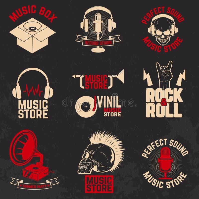 Комплект ярлыков магазина музыки на предпосылке grunge Элемент f дизайна иллюстрация вектора