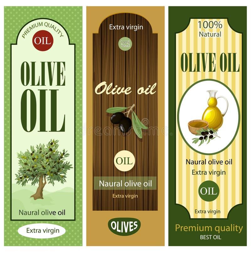 Комплект ярлыков оливкового масла шаржа иллюстрация штока