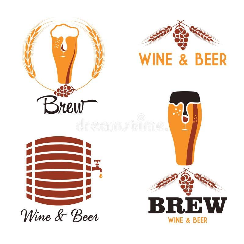 комплект ярлыков пива винтажный иллюстрация вектора