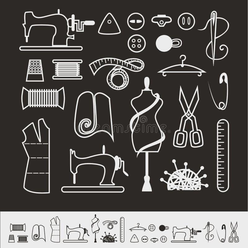 Комплект ярлыков портноя, эмблем и элементов дизайна иллюстрация вектора