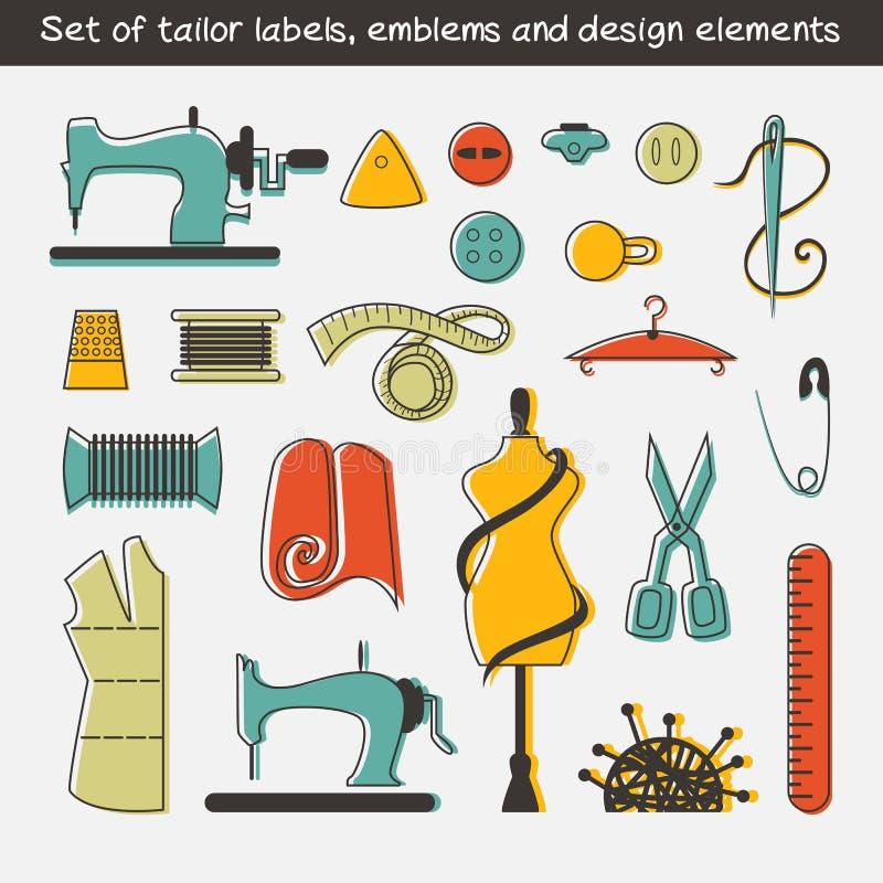 Комплект ярлыков портноя, эмблем и элементов дизайна бесплатная иллюстрация