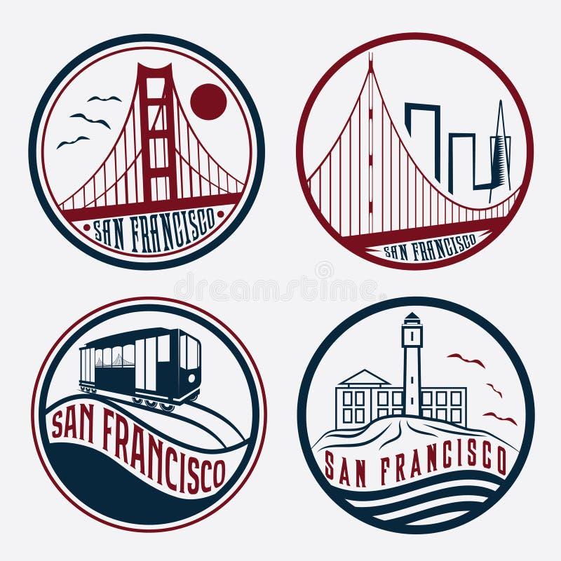 Комплект ярлыков Сан-Франциско винтажный иллюстрация вектора
