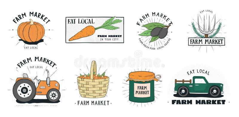 Комплект ярлыков свежих продуктов Собрание логотипа рынка фермы различное Вручите вычерченную красочную иллюстрацию вектора на бе иллюстрация вектора