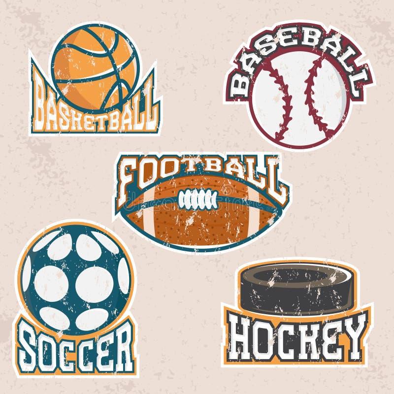 Комплект ярлыков спорта вектора grunge винтажных бесплатная иллюстрация