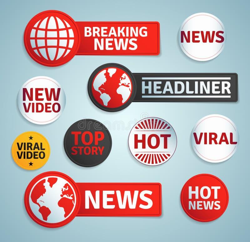 Комплект ярлыков средств массовой информации бесплатная иллюстрация