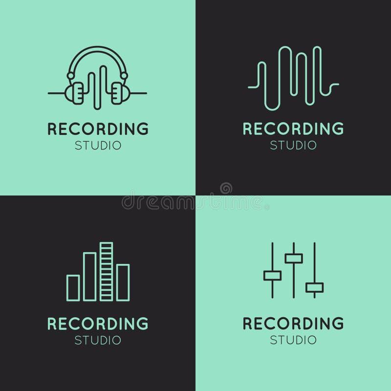 Комплект ярлыков студии звукозаписи бесплатная иллюстрация