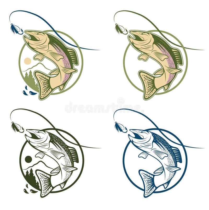 комплект ярлыков форели шаржа винтажный иллюстрация штока