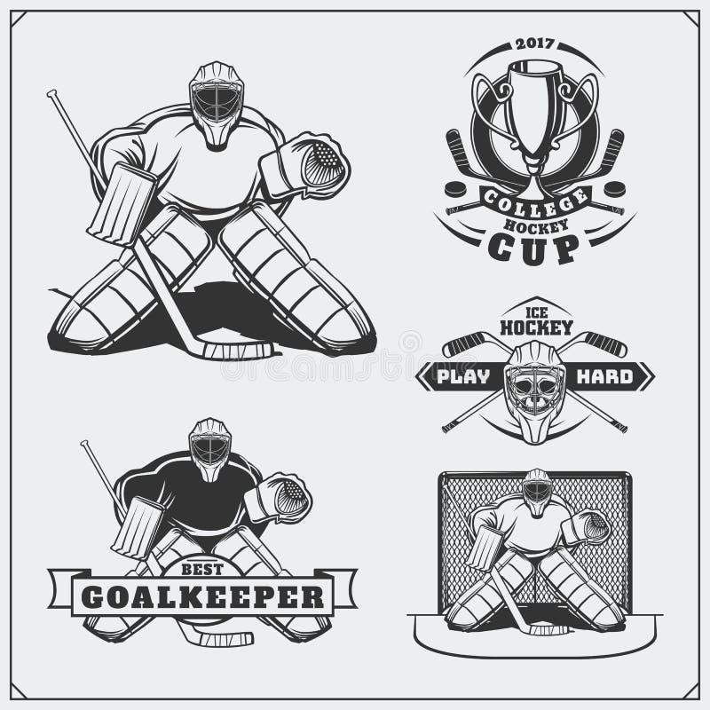 Комплект ярлыков хоккея на льде, эмблем, значков, значков и элементов дизайна бесплатная иллюстрация