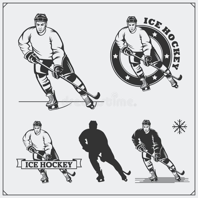 Комплект ярлыков хоккея на льде, эмблем, значков, значков, элементов дизайна и силуэтов игроков иллюстрация вектора