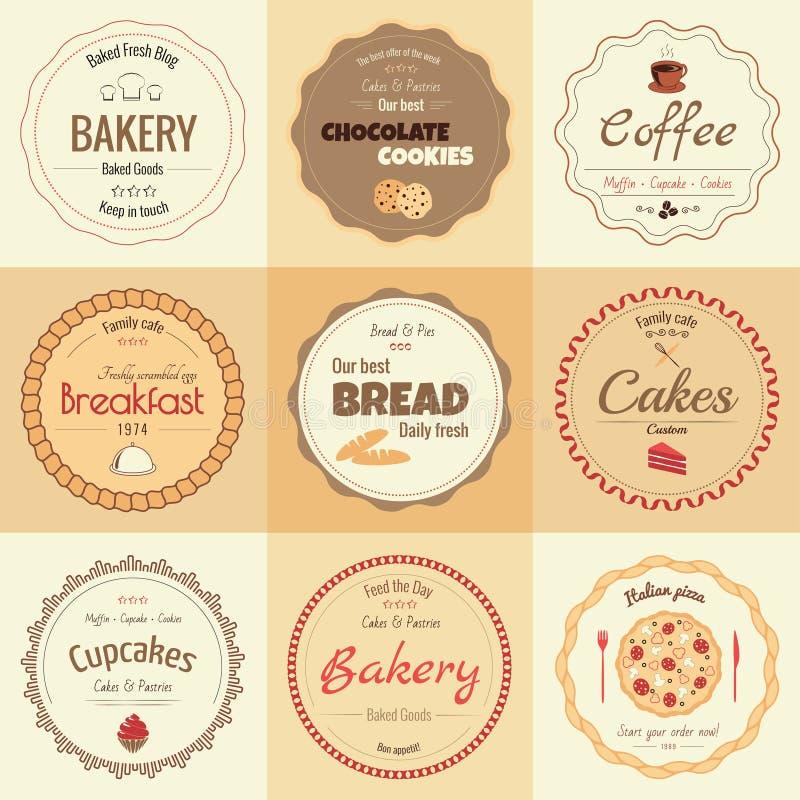 Комплект 9 ярлыков хлебопекарни круга стоковые фото
