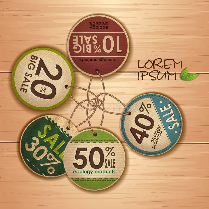 Комплект ярлыков экологичности иллюстрация штока