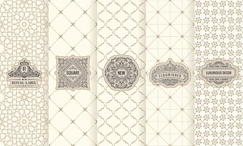 Комплект ярлыков элементов дизайна, значок вектора, логотип, рамка, роскошь упаковывая для продукта бесплатная иллюстрация