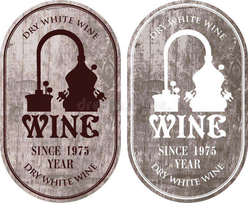 Комплект ярлыков для вина с продукцией вина бесплатная иллюстрация
