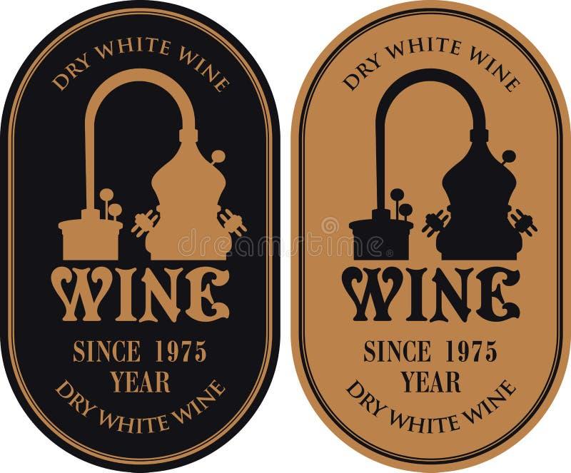 Комплект ярлыков для вина с продукцией вина иллюстрация вектора
