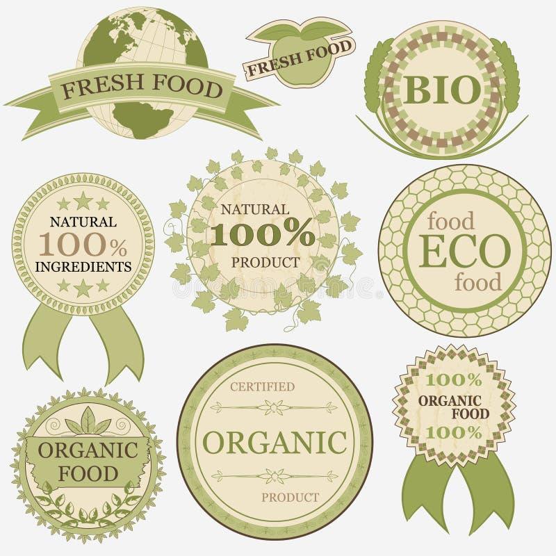 Комплект ярлыков eco био естественных в ретро винтажном стиле иллюстрация вектора