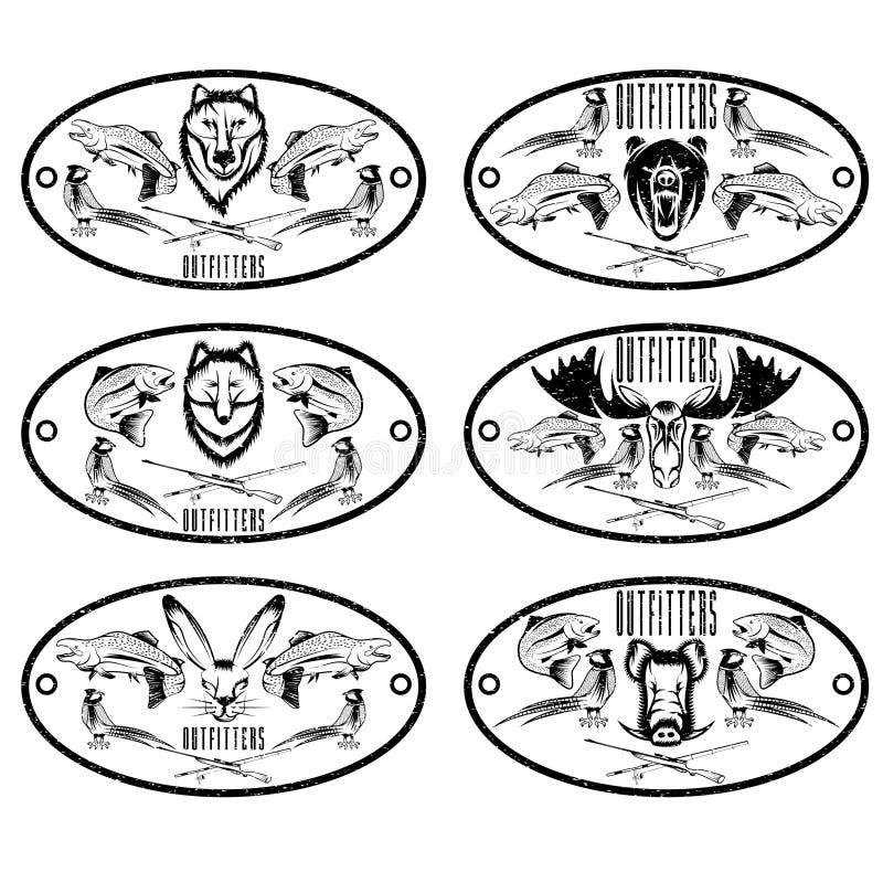 комплект ярлыков grunge звероловства винтажный иллюстрация штока