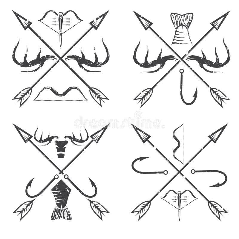 комплект ярлыков grunge звероловства винтажный бесплатная иллюстрация