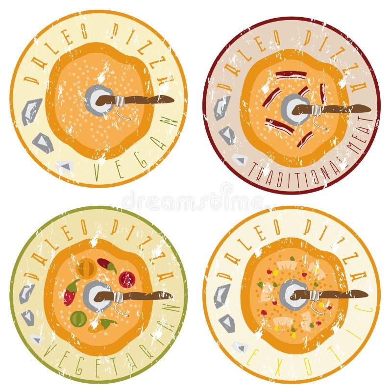 Комплект ярлыков grunge концепции пиццы Paleo винтажный иллюстрация штока