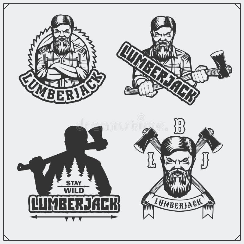 Комплект ярлыков Lumberjack, эмблем, значков и элементов дизайна сбор винограда типа лилии иллюстрации красный иллюстрация вектора