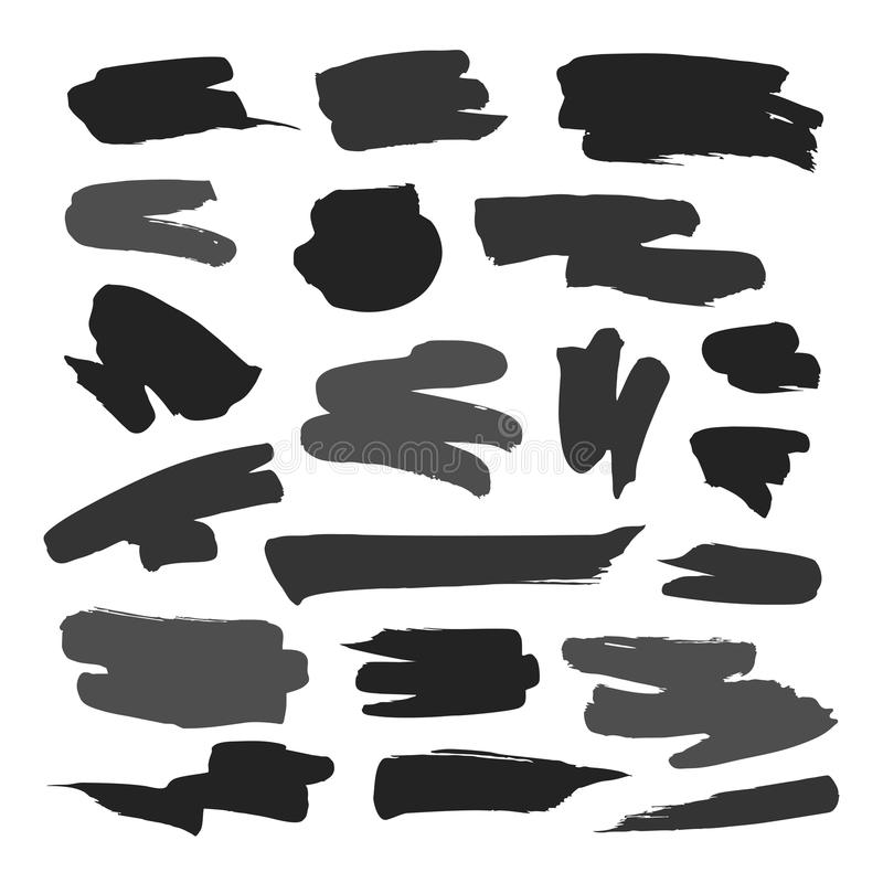 Комплект Brushstroke нарисованный вручную иллюстрация вектора