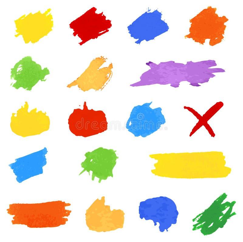 Комплект brushstrokes цвета на белизне иллюстрация штока