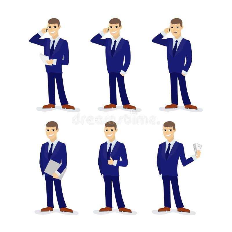 Комплект businessmans шаржа также вектор иллюстрации притяжки corel иллюстрация вектора
