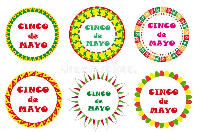 Комплект Cinco de Mayo круглых рамок с космосом для текста белизна изолированная предпосылкой также вектор иллюстрации притяжки c иллюстрация вектора