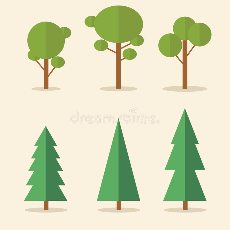 Комплект coniferous и лиственных зеленых деревьев иллюстрация вектора