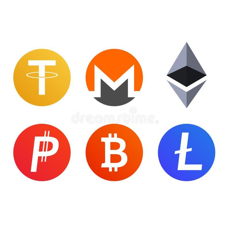 Комплект cryptocurrency чеканит символы значков иллюстрация вектора