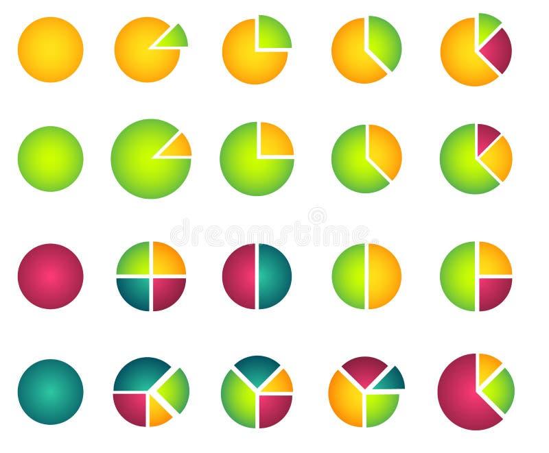 Download Комплект 2D диаграмм пирога Иллюстрация вектора - иллюстрации насчитывающей круг, оценка: 33731289