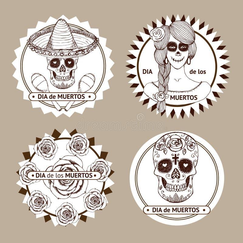 Комплект dia de los muertos мексиканца эскиза стикеров бесплатная иллюстрация