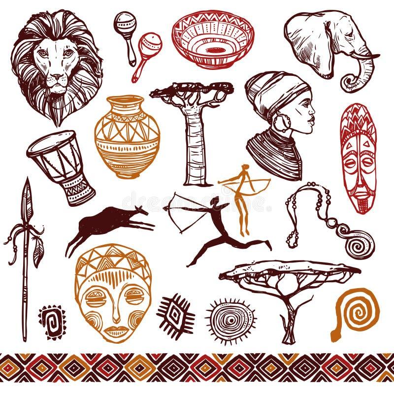 Комплект Doodle Африки иллюстрация вектора
