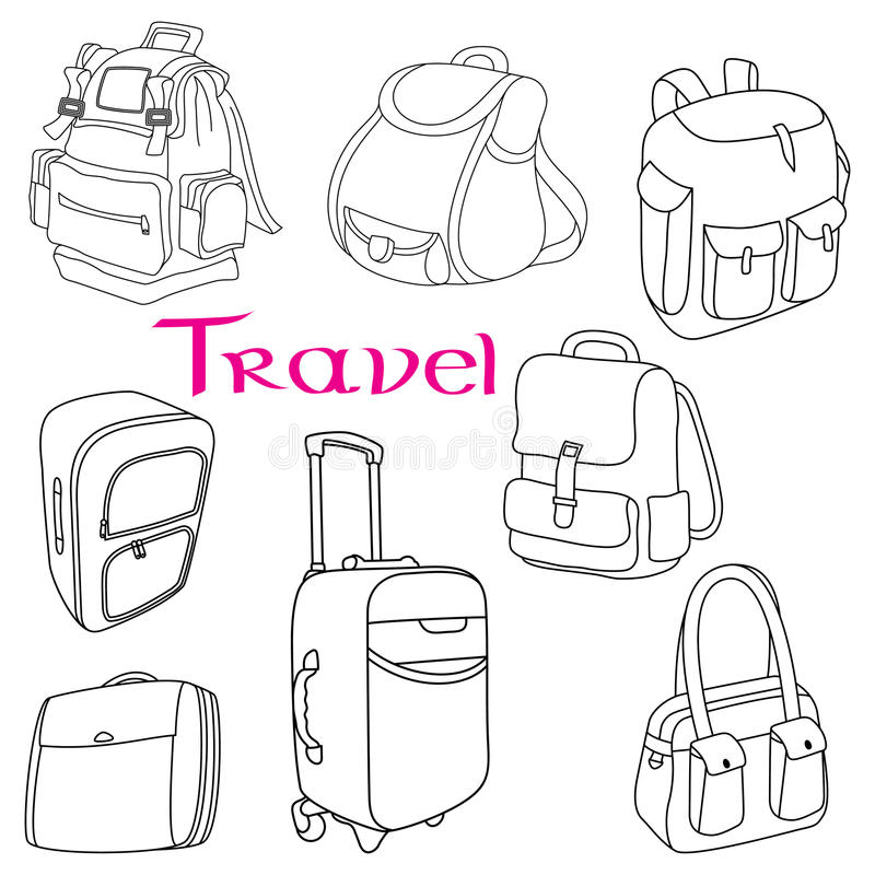 Комплект doodle багажа тематический иллюстрация штока