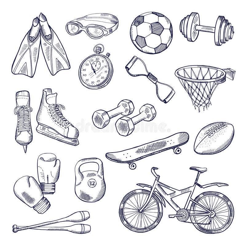 Комплект doodle вектора оборудования спорта Нарисованный рукой изолят иллюстраций на белой предпосылке бесплатная иллюстрация