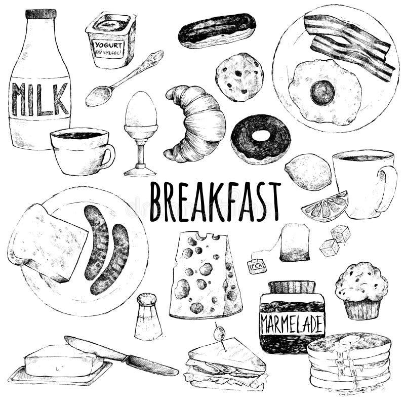 Комплект Doodle еды для завтрака бесплатная иллюстрация