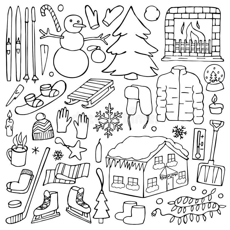 Комплект doodle зимы иллюстрация штока