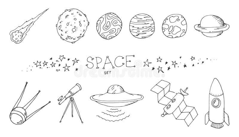 Комплект doodle космоса иллюстрация вектора