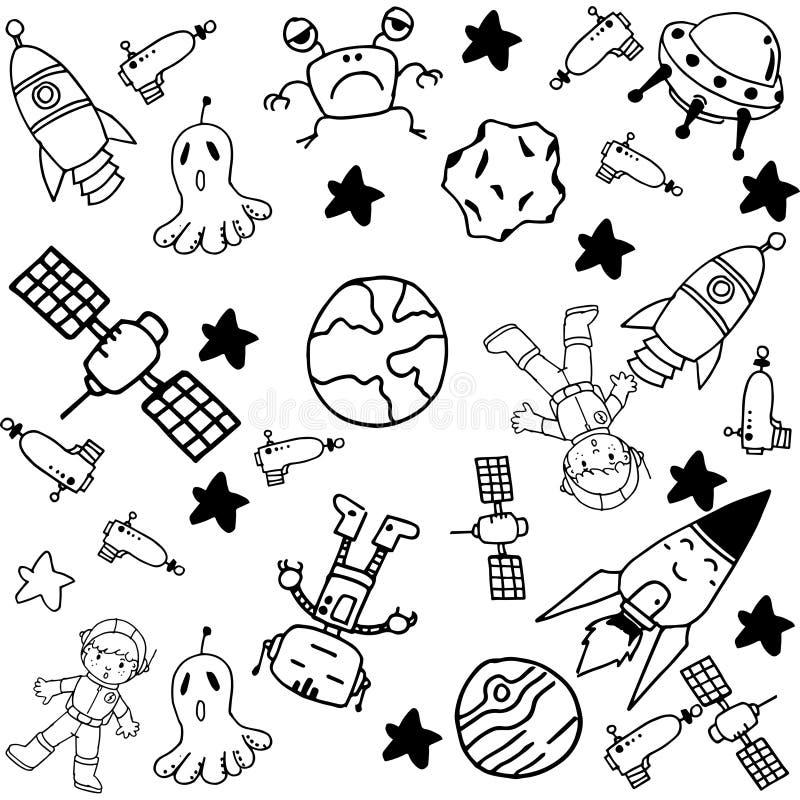 Комплект doodle космоса бесплатная иллюстрация