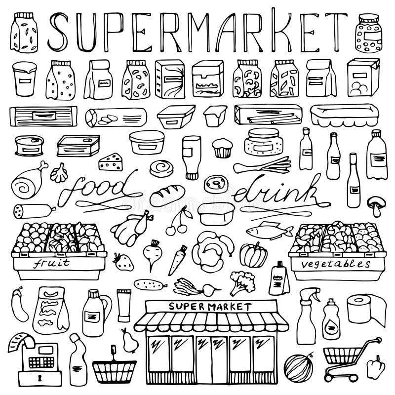 Комплект doodle супермаркета нарисованный рукой иллюстрация вектора