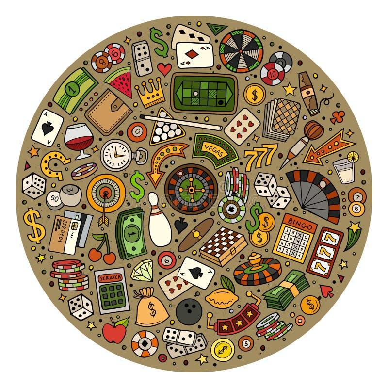 Комплект doodle шаржа казино возражает, символы и детали бесплатная иллюстрация