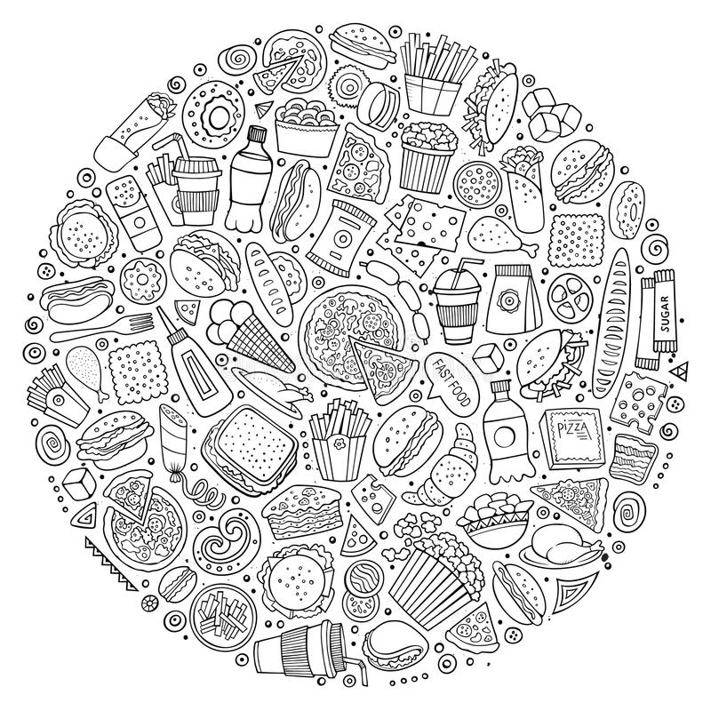 Комплект doodle шаржа фаст-фуда возражает, символы и детали бесплатная иллюстрация
