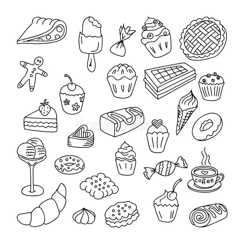 Комплект doodles хлебопекарня, puncakes и десерты элементов стоковые фото