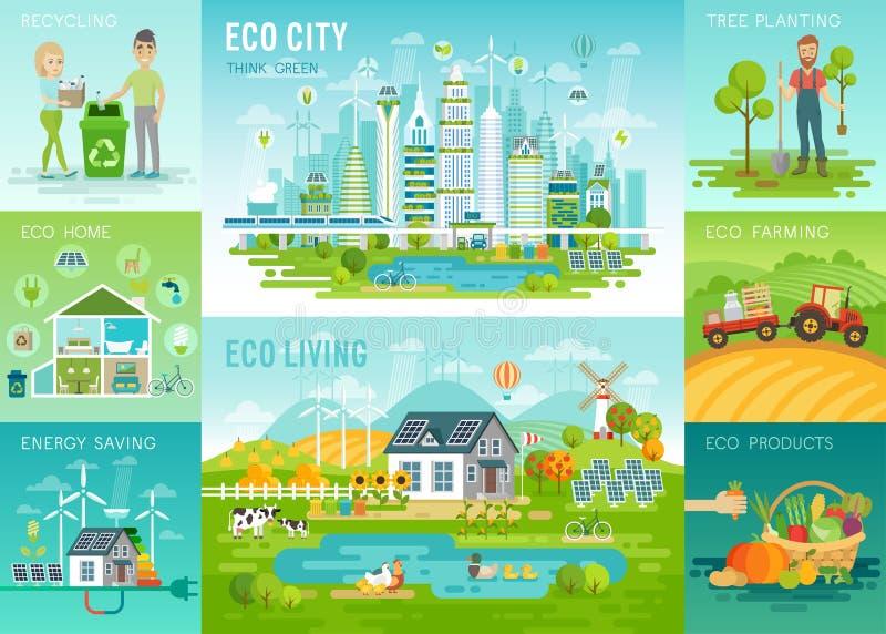 Комплект Eco, рециркулировать, засаживая деревья, энергосберегающие, темы сельского хозяйства eco иллюстрация вектора