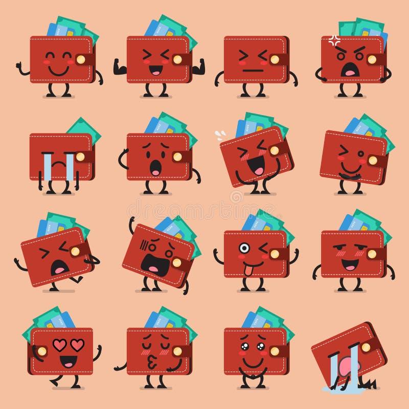 Комплект emoji характера бумажника иллюстрация вектора